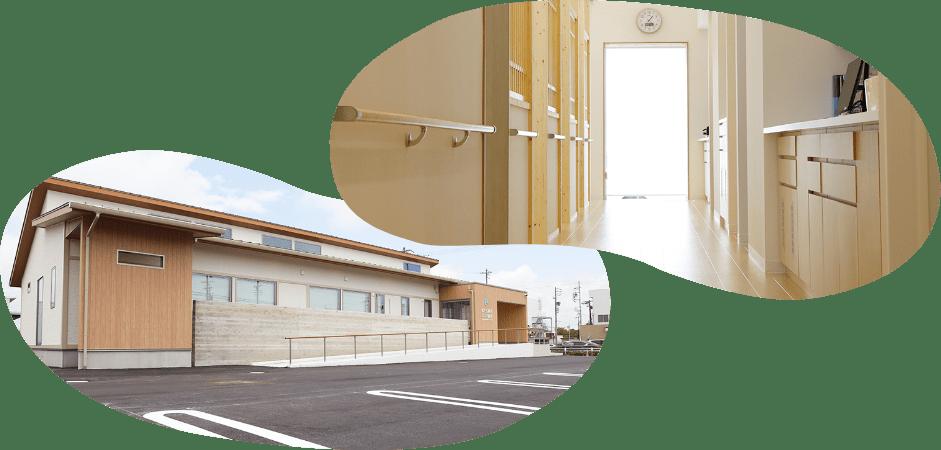 バリアフリー設計な院内 駐車しやすい広い駐車場
